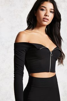 6aede71bed05 Style Deals - A ribbed knit crop top featuring an elasticized  off-the-shoulder