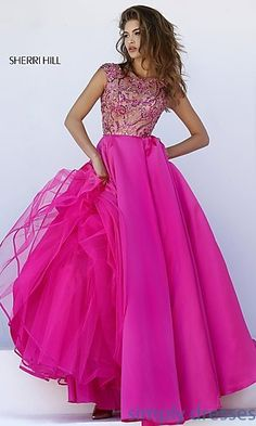 Floor Length Cap Sleeve Dress by Sherri Hill with Jewel Embellished Sheer Bodice