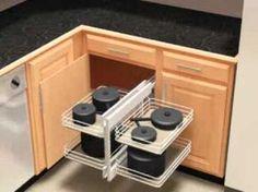 Slide Out Base Blind Kitchen Corner Cabinet Unit by Knape & Vogt… Kitchen Corner Cupboard, Pull Out Kitchen Cabinet, Blind Corner Cabinet, Kitchen Cabinet Storage, Diy Kitchen, Kitchen Design, Kitchen Decor, Kitchen Cabinets, Cabinet Space