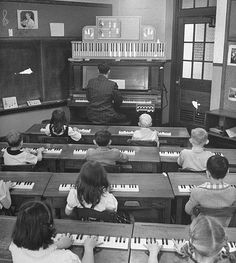 "Elementary Piano Class back in 1947 Photo made by in 1947 by the famous photographer Yale Joel and featured in one of ""Life"" Magazine's Issues of those times."
