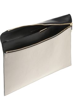 Victoria Beckham - Paper-thin,two-tone leather clutch