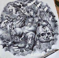 Chicano Tattoos Sleeve, Chicano Style Tattoo, Arm Sleeve Tattoos, Tattoo Sleeve Designs, Body Art Tattoos, Chest Tattoo Drawings, Chest Piece Tattoos, Half Sleeve Tattoo Stencils, Skeleton Hand Tattoo