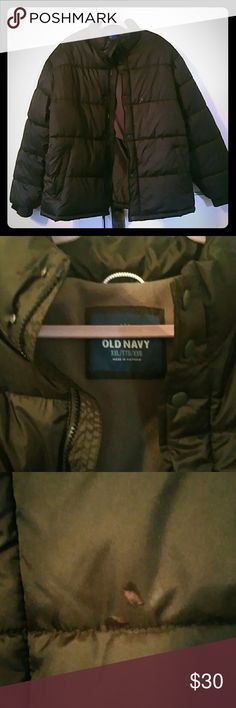 🕶Warm Men's Old Navy Puffer🕶 Like new XXL. I bought it for me but too small.  There is a tiny spot. Upon inspection it looks like some kind of glue. See pics. It's not noticeable unless you know it's there. No rips or tears. Inside zipper pocket too! 100% polyester, functioning zipper and buttons. The parts of my body it did cover felt warm. It feels like down but it's not. Bought from another Posher. Such a super nice coat. No hood. Possibly unisex. Old Navy Jackets & Coats Puffers
