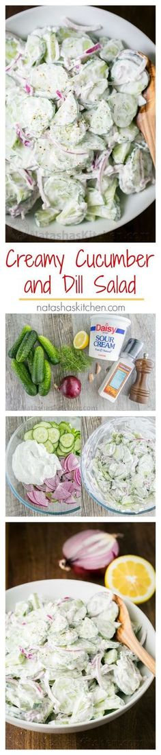 This German cucumber salad is easy, creamy and good. We love it year round but it's especially good with garden cucumbers! | http://natashaskitchen.com
