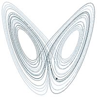 A sample solution in the Lorenz attractor when ρ = 28, σ = 10, and β = 8/3 https://plus.google.com/+AndresMTrianon/posts/V4j9stE81PW
