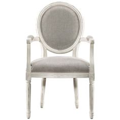 Louis Vintage White Oak Round Dining Arm Chair- Linen ($537) ❤ liked on Polyvore featuring home, furniture, chairs, dining chairs, white oak dining chairs, white dining chairs, white arm chair, white kitchen chairs and white oak furniture