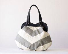 Stripe shoulder bag, purse in cotton and black leather - Iris bag