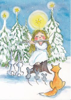 Taikahuilu  (The Magic Flute) Christmas card of angel playing flute as fox  rabbits  mice listen intently in front of snow covered pine trees. RESEARCH by DdO:) - http://www.pinterest.com/DianaDeeOsborne/CHRISTmas-keys - Die Zauberflöte (German title) is a Singspiel - popular form of opera (2 acts) that mixes singing with spoken dialogue. Music by Wolfgang Amadeus Mozart was written to a German libretto (small book, lyrics) by Emanuel Schikaneder. Written in 1791, year of Mozart's death.