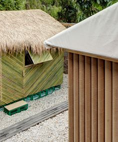 shigeru ban's disaster relief shelters made from bamboo and paper go on view in sydney