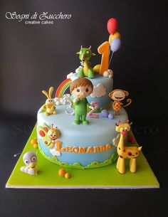 Name printed on cake First Birthday Cakes, 1st Birthday Parties, Teletubbies Cake, Baby Tv Cake, Fondant Cake Designs, Confirmation Cakes, Birtday Cake, Fondant Baby, Little Cakes