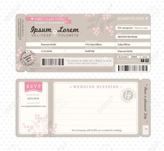 Boarding Pass Ticket Wedding Invitation Template Royalty Free Cliparts, Vectors, And Stock Illustration. Pic 22139839. More