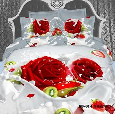 Queen's Romantic Big Red Rose Fruit Milk Cotton 800 Thread Count Fitted Sheet Set (With Rubber Around) Twin&full&queen&king Size Comforter Sets Bedding Sets Duvet Cover Set Bed Sets Bed Cover Set Quilt Cover Set Bedclothes Bedspread Bed King Size Comforter Sets, King Size Comforters, 3d Bedding Sets, Cotton Bedding Sets, Cotton Duvet, Bed Cover Sets, Quilt Cover Sets, Bed Sets, Beautiful Bedding Sets