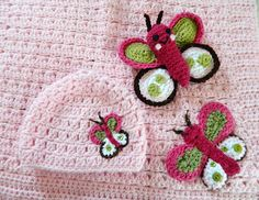 Raspberry Tiddliwinks inspired crochet baby butterfly hat, blanket, and toy.