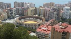 Bullfighting ring taken from Castillo De Gibralfaro . Malaga Espana.