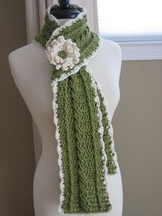 Country Crochet Cable Scarf w/ Blossom