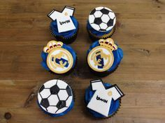 Soccer Cookies, Football Cupcakes, Soccer Cake, Soccer Party, Real Madrid Cake, Real Madrid Soccer, Football Birthday, Sports Birthday, Pokemon Birthday