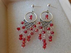 Orecchini pendenti chandelier fatti a mano con cristalli rossi, idea regalo., by Le gioie di  Pippilella, 7,00 € su misshobby.com