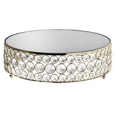 """Glass Mirrored Top Round Crystal Cake Stand 12"""" Diameter - Gold Queens Birthday Cake, Queen Birthday, Cake And Cupcake Stand, Cupcake Cakes, Crystal Cake Stand, Golden Treasure, Late Summer Weddings, Party Supplies, Decorative Bowls"""