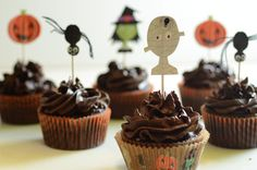 Adorable Paleo Halloween Cupcakes --chocolate grain-free cupcake with dark chocolate dairy-free frosting. Gluten-free, grain-free, dairy-free, nut-free.