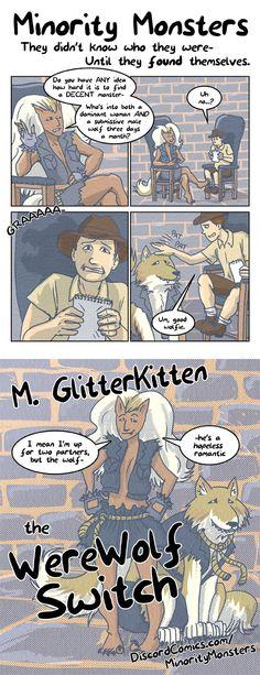 Minority monsters 16-M-GlitterKitten the WereWolf Switch