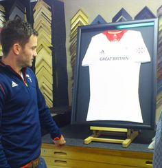James Tindall (Team GB Hockey player, 2012 Olympics) here with his shirt framed by Bespoke Framing