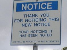 Thank you for noticing the notice