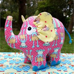 "Phoebe the elephant would be a cute addition to any shelf or bed!  She is robust and sweet in any fabric combination.  This pattern is suitable for all skill levels.Completed size:  Approximately 28cm x 23cm (11"" x 9"").Patterns contain full step-by-step instructions and the full sized templates to create your own Phoebe the elephant."