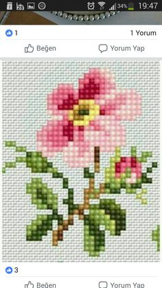 Scheme for cross stitch- Rose - Cross stitch pattern - Emb Cactus Cross Stitch, Cross Stitch Heart, Cross Stitch Borders, Counted Cross Stitch Kits, Cross Stitch Flowers, Cross Stitch Designs, Cross Stitch Patterns, Hand Embroidery Stitches, Cross Stitch Embroidery
