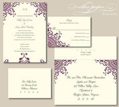 Purple Wedding Invitation - Burgeon. $4.70, via Etsy.