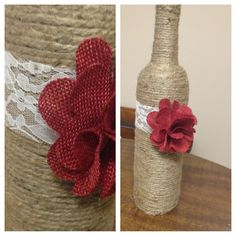 DIY Twine covered wine bottles with lace and flower detail