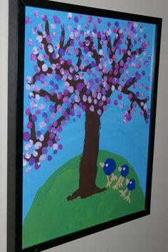 finger print blossoms, something both kids could do together.
