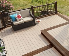 Composite decking for beautiful outdoor spaces. Browse TimberTech's range of low-maintenance composite decking boards. Sale now on! Deck Stain Colors, Deck Colors, Deck Stain Ideas Two Tone, Cabin Decks, Decks And Porches, Stone Porches, Hawaii Homes, Deck Railings, Composite Decking