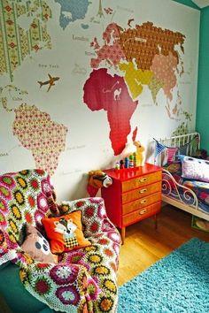 Los mapas son geniales para decorar nuestra casa, desde la pared hasta los detalles. ¡Vamos a comernos el mundo!