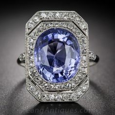 French 7.00 Carat Sapphire, Platinum and Diamond Edwardian Ring, ca. 1900