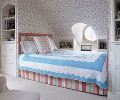 Beautiful Patterned Wall Contemporary Bedroom Installed With White Wooden Dresser And Stoarge Units Near Mini Bed