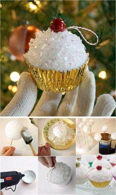 Pin by Windy Horner on Christmas time ideas Christmas Ornament Crafts, Christmas Tree Themes, Christmas Tree Ornaments, Christmas Cupcakes, Simple Christmas, Christmas Holidays, Advent, Styrofoam Ball, Christmas Inspiration
