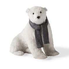 Sitting Polar Bear with Scarf