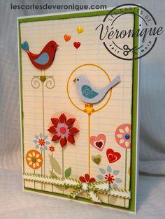 Double carte artisanale 3D Enfants «Les oiseaux»  /3D handmade child double card «Charming birds» Fancy Pants Designs© papers