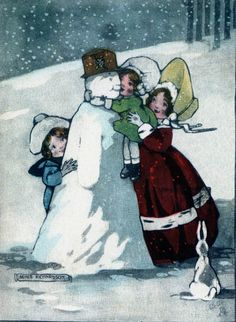 "Vintage card (from SNOW PEOPLE collection by Darling & Company, Seattle, WA):   'Snowmen first came on the scene, according Bob Eckstein, in his ""History of the Snowmen"" in the 16th century. They became especially popular in the Victorian era. He writes, ""The picturing of snow people flourished in the penny-postcard era (1890-1920) when many thousands of cards were made."" ' <> (snowfolk)"
