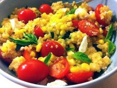 Quinoa salad with Oven Roasted Corn and Tomatoes