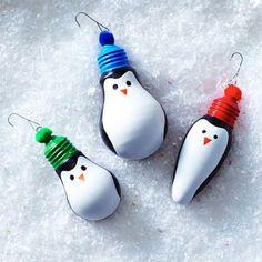 Penguin DIY Ornaments by Clinton Kelly Christmas Ornament Crafts, Christmas Projects, Christmas Art, Holiday Ornaments, Holiday Crafts, Christmas Bulbs, Christmas Decorations, Diy Ornaments, Penguin Ornaments