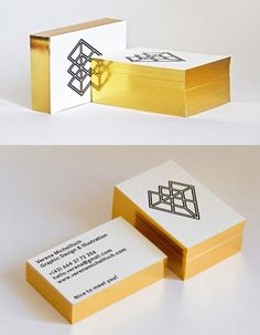 Luxurious Gold Foil Edge Painted Letterpress Business Card For A Graphic Designer
