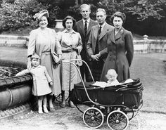 The Royal Family, August 1951. From left to right: Prince Charles, Queen Elizabeth, Princess Margaret, the Duke of Edinburgh, King George and Princess Elizabeth (the future Queen Elizabeth II), as well as a little princess Anna in a baby carriage. The following year, 1952, Princess Elizabeth became Queen of the United Kingdom.