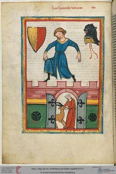 Codex Manesse from the beginning of the 14th century: Der hier dargestellte Minnesänger ist vermutlich Heinrich II. von Sax (1235-1289), der - wie sein Neffe Eberhard (Miniatur 21) - dem Geschlecht der Herren von Sax und Hohensax angehörte.