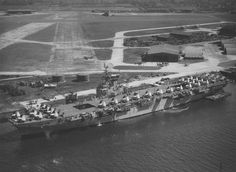 RCN Sea Furies being loaded aboard HMCS Magnificent 24 May 1948. H.M.S. GADWALL R.N.A.S./R.N.A.Y. Sydenham, Belfast, Northern Ireland. Royal Canadian Navy, Canadian Army, Canadian History, Royal Navy Aircraft Carriers, Navy Day, Belfast, Armed Forces, Paris Skyline, City Photo