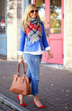 Shanna Said So is my fav blog for fashion  love this bright blue with the brown leather bag, but my feet would freeze in ny right now!
