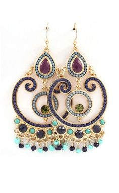 Boho Chandelier Earrings in Sultry Blues