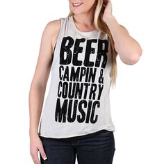 """I.O.C. Women's """"Beer Campin & Country Music"""" Muscle Tank"""