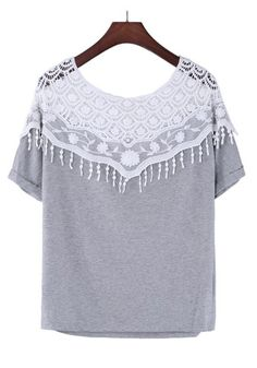 Grey Patchwork Cut out Handmade Crochet Cape Lace Collar Batwing Short Sleeve Loose Fashion Cotton Blend T-Shirt