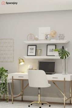 This home office design idea which predominantly features gold, white and gray as the neutral color palette creates a warmer feeling within the space. This design features a gray daybed and a new computer chair complimenting the gold tones of the desk. Cozy Home Office, Home Office Setup, Home Office Space, Home Office Furniture, Office Ideas, White Desk Home Office, Grey Office, White Desks, Office Interior Design